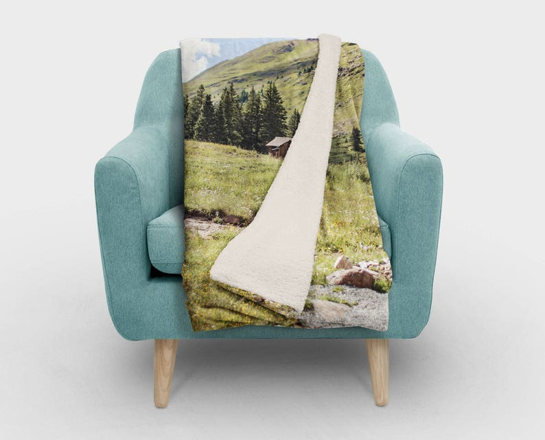 Rocky Mountain Living Room Decor Fuzzy Bedding Rustic Cabin Blanket Ultra Soft Sherpa Fleece Throw Couch Arm Throw