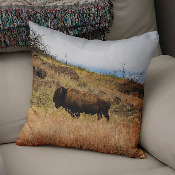 Incredible Bison Throw Pillow Rustic Decor Dorm Pillows Bison Couch Cushion Western Pillow Cover Large Throw Pillow Country Decor Large Pillow Andrewgaddart Wooden Chair Designs For Living Room Andrewgaddartcom