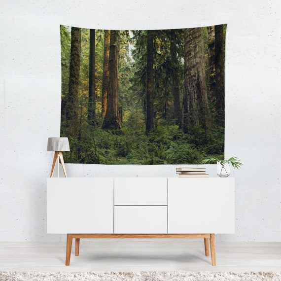 Olympic Rain Forest Tapestry Cedar Trees Wall Hanging Ferns Etsy