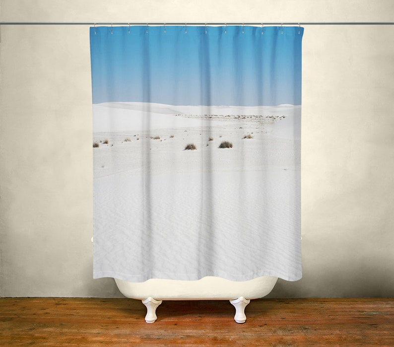 White Sands New Mexico, White Shower Curtain, Desert Bathroom Decor, White  Bathroom, White Beach, Gypsum Desert Bathroom, New Mexico Decor