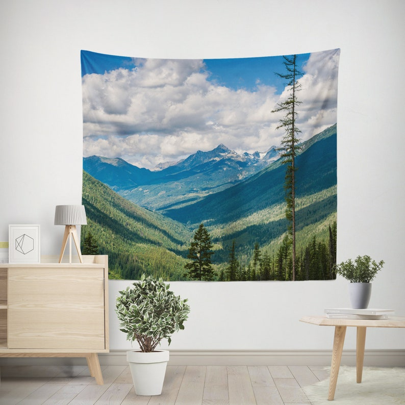 Canadian Rocky Mountains Wall Tapestry British Columbia 60x51 inches