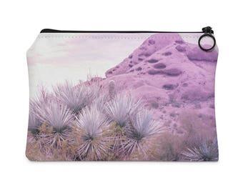 Pink Desert Carry All Pouch, Cactus Travel Pouch, Pink Wallet, Phoenix Arizona, Modern Accessory Pouch, Boho Hand Purse, Pink Makeup Bag