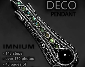 Deco pendant wire wrapped tutorial - very detailed step by step instructions, wirewrap DIY, digital book about jewelry, learn how to wrap
