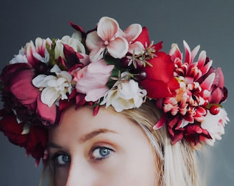 The Burgundy Peony Full head Garland Flower Crown with boho satin ribbon - bridal crown  - flower hairband - millinery flowers - hen party -