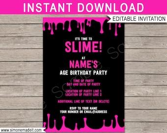 slime party invite etsy