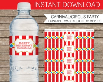 3bdd20e6c1 Carnival Water Bottle Labels or Wrappers - Carnival or Circus Party -  INSTANT DOWNLOAD with EDITABLE text - you personalize at home