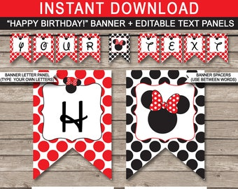 Red Minnie Mouse Party Banner