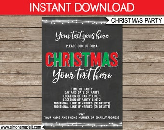 Christmas Party Invitation - Chalkboard Invitation - Invitation Template - INSTANT DOWNLOAD with EDITABLE text - you personalize at home