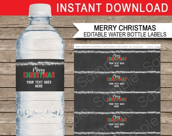 Christmas Water Bottle Labels or Wrappers - Chalkboard - Merry Christmas - Printable Decorations - INSTANT DOWNLOAD with EDITABLE text