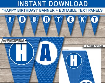 Pool Party Banner - Happy Birthday Banner - Custom Pool Party Banner - Pool Party Decoration - Bunting - INSTANT DOWNLOAD with EDITABLE text