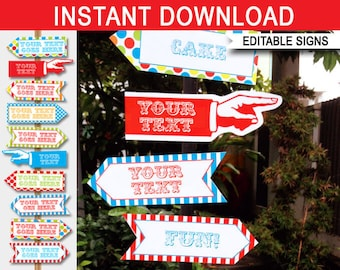 Carnival Signs - Direction Arrows - Carnival Party Decorations - Game Signs - Circus Party - INSTANT DOWNLOAD with EDITABLE text - 2 sizes
