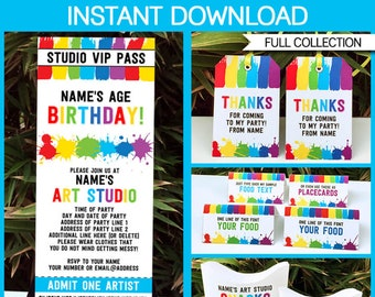 Art Party Printables, Invitations & Decorations - Art Theme Party - full Printable Package - INSTANT DOWNLOAD with EDITABLE text