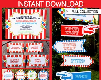 Carnival Theme Party Invitations & Decorations - full Printable Package - INSTANT DOWNLOAD with EDITABLE text - you personalize at home