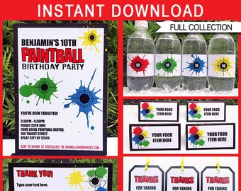 Paintball Birthday Party Invitation Decoration Printable Templates - full Package - INSTANT DOWNLOAD with EDITABLE text - you personalize