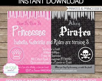 Princess pirate invitations etsy pirates and princesses invitation template birthday party instant download with editable text you personalize at home filmwisefo