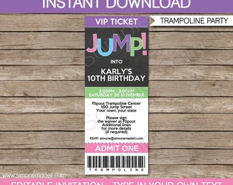 Trampoline Ticket Invitation Template - Birthday Party - Girls - INSTANT DOWNLOAD with EDITABLE text - you personalize at home