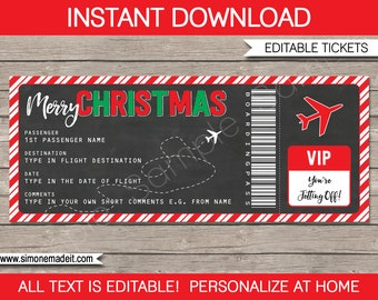 Christmas Gift Boarding Pass Ticket - Surprise Trip, Flight, Getaway, Holiday, Vacation - Fake Plane Ticket - INSTANT DOWNLOAD - EDITABLE
