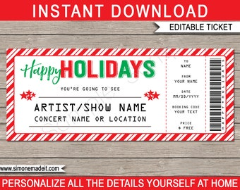 Concert Ticket template - Printable Holiday Gift - Surprise Show Band Artist Festival - Gift Certificate - INSTANT DOWNLOAD - EDITABLE text