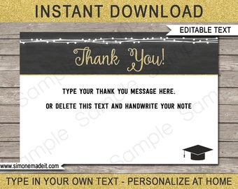 Graduation Thank You Cards   Printable Thank You Notes For Graduation Gift    Favor Tags   4x6 Inch   INSTANT DOWNLOAD With EDITABLE Text