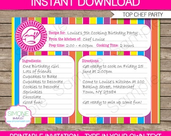 Editable recipe card etsy recipe card invitation template cooking birthday party instant download with editable text you personalize at home stopboris Choice Image