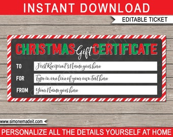 Christmas Gift Certificate - for any type of gift - Spa, Massage, Experience etc - last minute gift - INSTANT DOWNLOAD with EDITABLE text