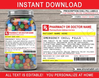 picture about Chill Pill Printable Label named Chill drugs Etsy