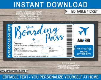 image relating to Printable Plane Ticket identify Aircraft ticket Etsy