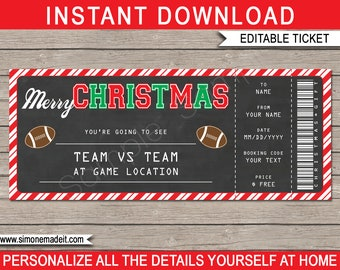 Christmas Football Ticket Gift - Surprise Football Game Ticket - Printable template - Voucher Certificate - INSTANT DOWNLOAD - EDITABLE text