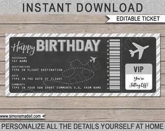 birthday gift airplane ticket printable boarding pass etsy