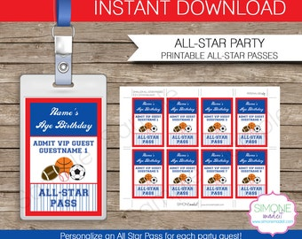All Star Sports Party Pass Printable Insert