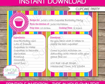 Invitation recipe etsy cupcake invitation template recipe card invitation birthday party instant download with editable text you personalize at home stopboris Choice Image