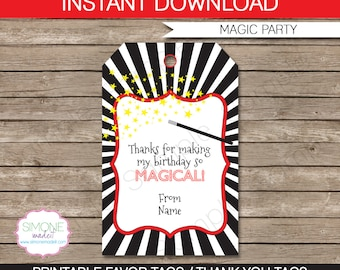 Magic Favor Tags - Thank You Tags - Birthday Party Favors - INSTANT DOWNLOAD with EDITABLE text template - you personalize at home