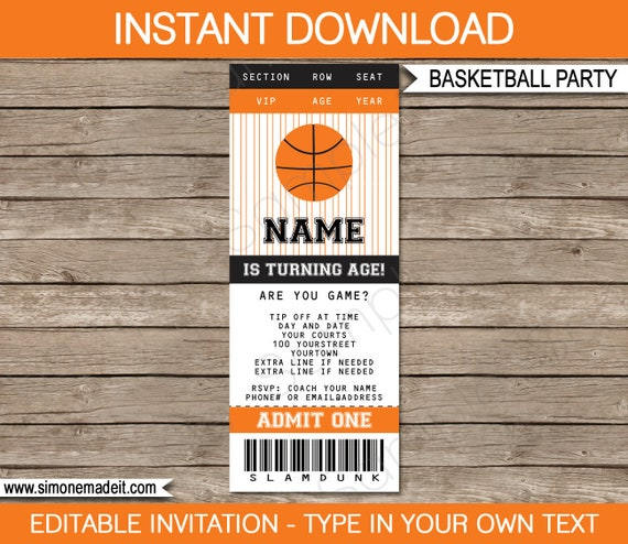 basketball ticket invitation template birthday party instant