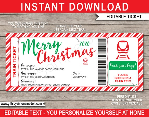 Christmas Train Ticket Printable Template Boarding Pass Gift Surprise Train Trip Rail Railway Voucher Instant Download Text Editable By Simonemadeit Catch My Party