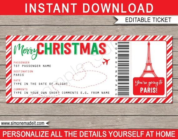 Paris Boarding Pass Christmas Gift Printable Ticket ...