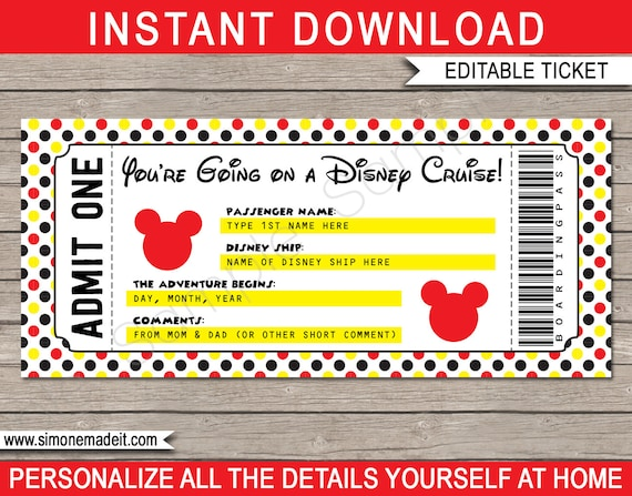photo about Free Printable Pretend Disney Tickets identified as Printable Disney Cruise Ticket - Speculate Cruise or Vacation - Birthday Present - Do it yourself template - Instantaneous Obtain with EDITABLE words - your self edit