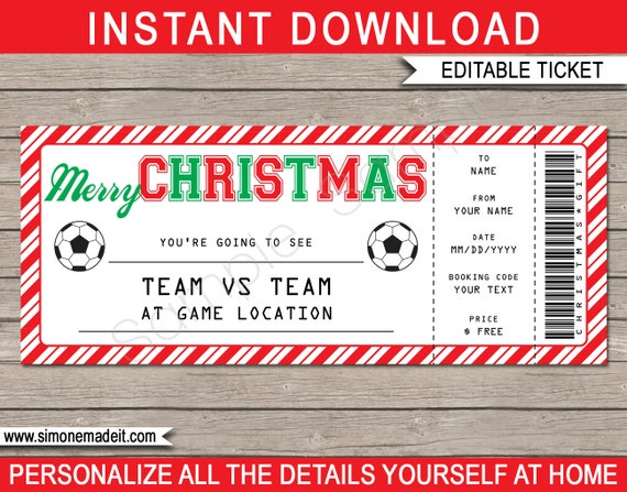 soccer game ticket christmas gift surprise soccer game ticket