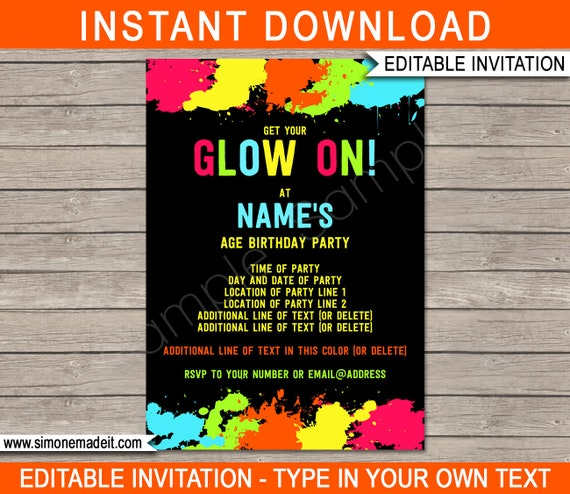 Glow Party Invite Template