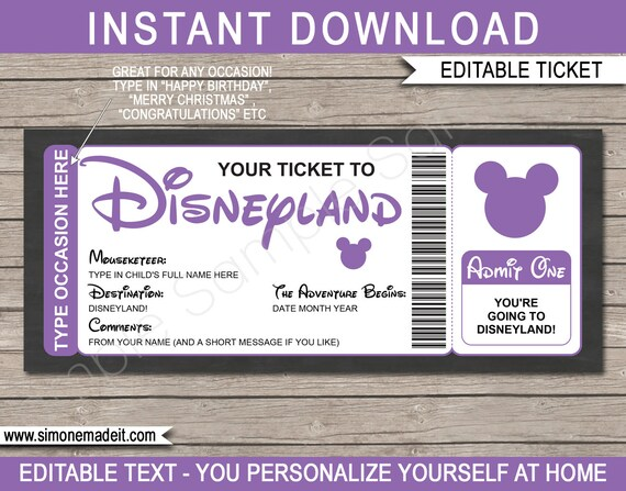 picture regarding You're Going to Disneyland Printable identified as Tailored Disneyland Holiday vacation Ticket Printable Reward Template