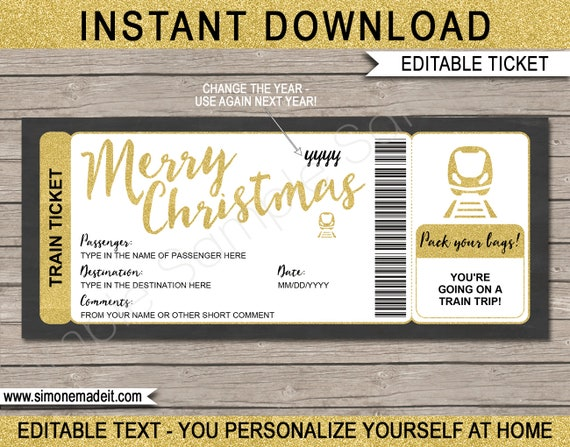 Printable Christmas Train Ticket Template Boarding Pass Gift