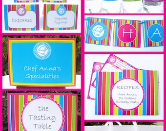 Cooking Party Invitations & Decorations - Top Chef - full Printable Package - INSTANT DOWNLOAD with EDITABLE text - you personalize at home