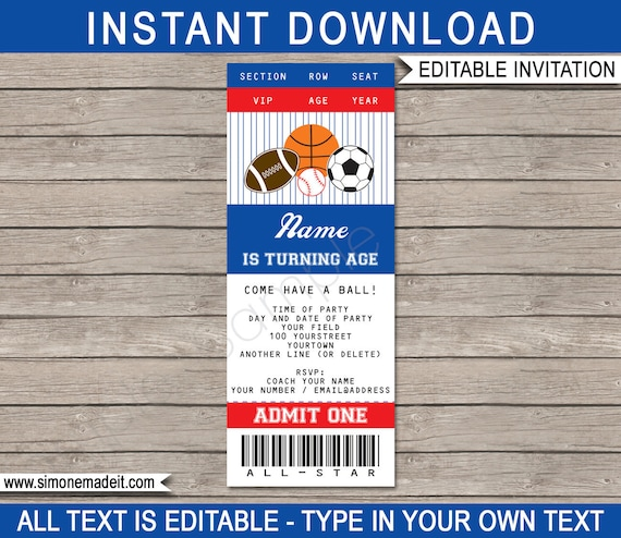sports ticket invitation template all star birthday party invite