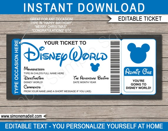 image about You Re Going to Disney World Printable called Disney Globe Ticket Printable Custom made Template Present