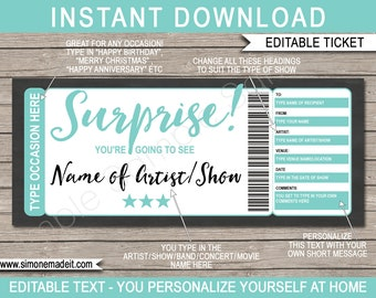 Show Ticket Surprise Concert Gift Printable Voucher - Christmas Birthday Anniversary Retirement Graduation - Any Occasion - EDITABLE text
