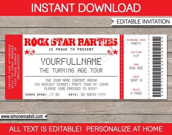 rock star invitation concert ticket invitation rock star