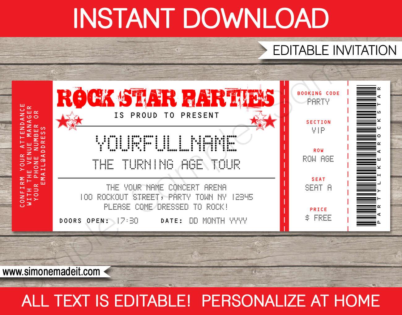 Rock Star Invitation Concert Ticket Invitation Rock Star | Etsy