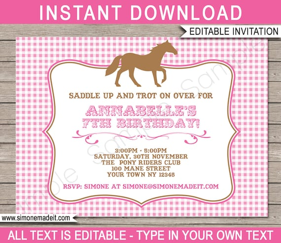 Horse Invitations Horse Birthday Party Invitation Template