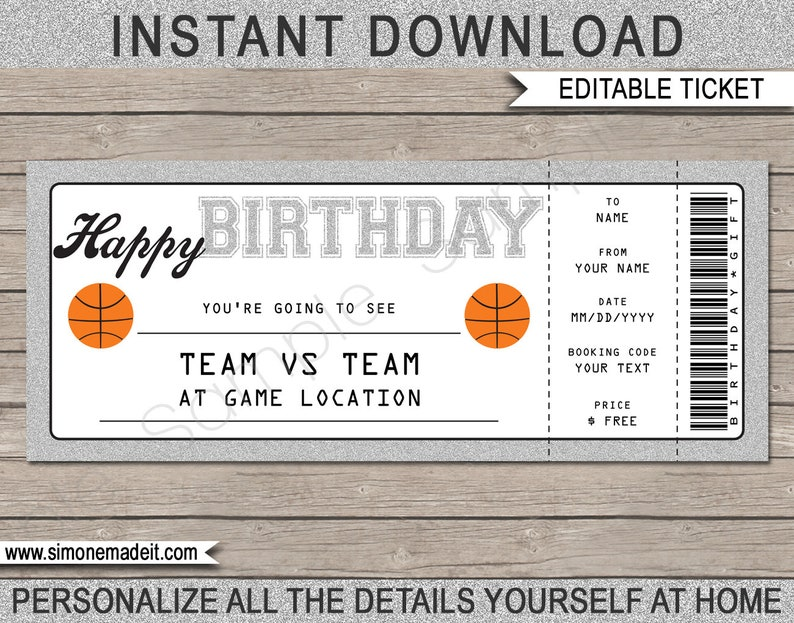 Basketball Ticket Birthday Gift Surprise To