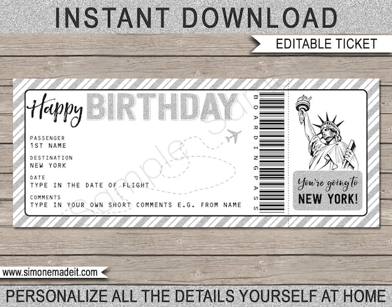 New York Birthday Gift Plane Ticket Printable Boarding Pass