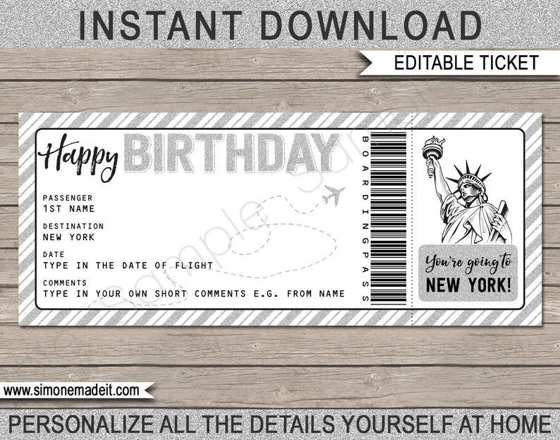 New York Birthday Gift Plane Ticket Printable Boarding Pass